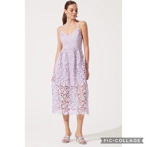 ASTR Purple Lilac Lace Sleeveless Midi Dress XS
